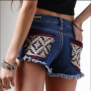 PS Erin Wasson Cut Off Jean Shorts with knit back